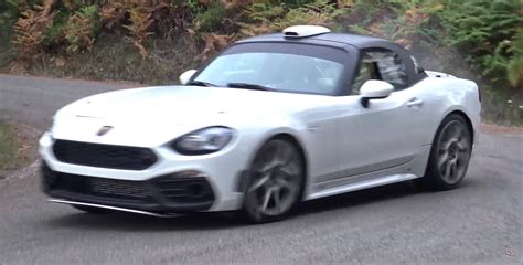abarth 124 rally r gt gets sideways in driving tests