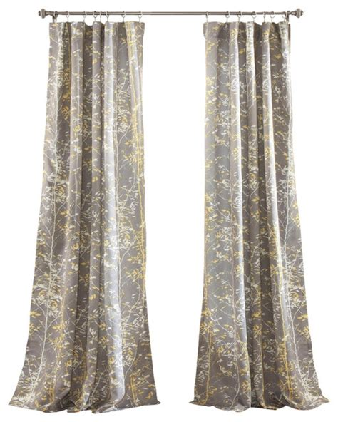 Yellow And Gray Window Curtains Forest Window Panel Gray And Yellow Set Transitional Curtains By Lush Decor