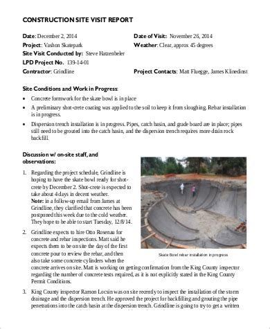 construction site visit report template sle visit report 10 exles in pdf word