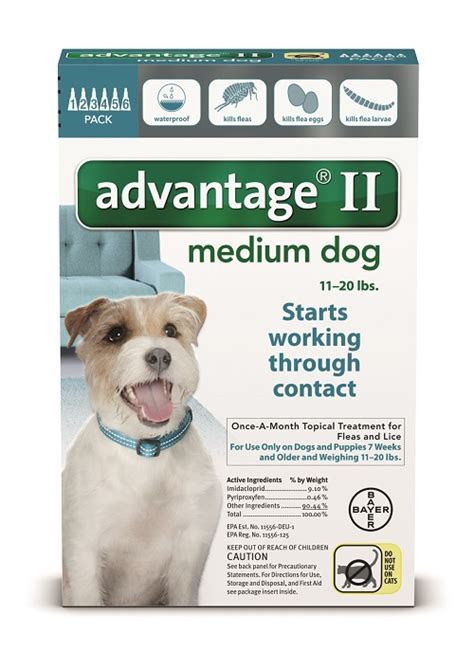 advantage for dogs 11 20 lbs for us bayer healthcare llc 12 pk advantage ii teal flea for medium dogs 11