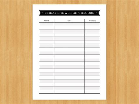 printable bridal shower gift record list list of gifts