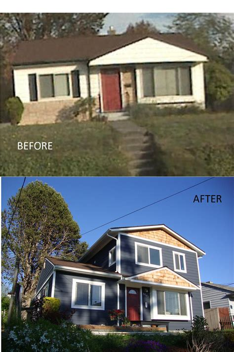 second story addition before and after of a home in seattle s ballard