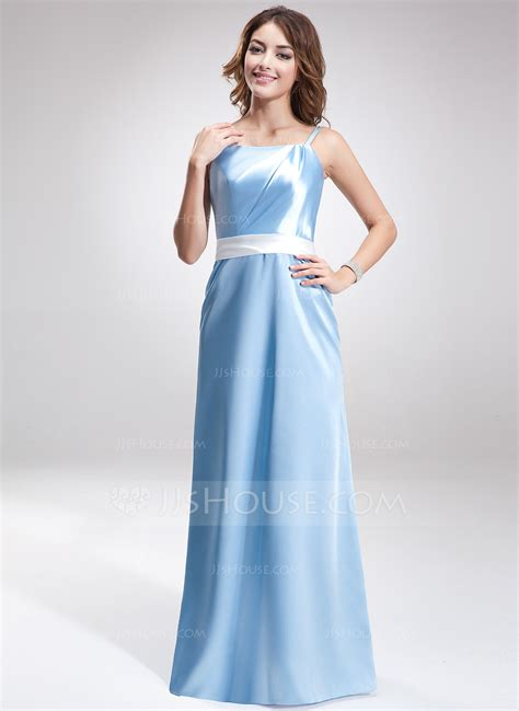 cocktail table sash length sheath column floor length charmeuse bridesmaid dress with