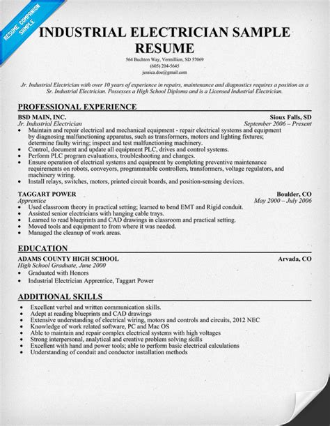 electrician resume exles sles electrician resume objectiveregularmidwesterners electrical