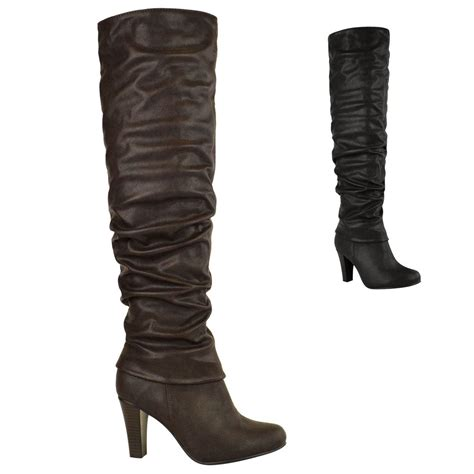 womens the knee thigh high block chunky mid
