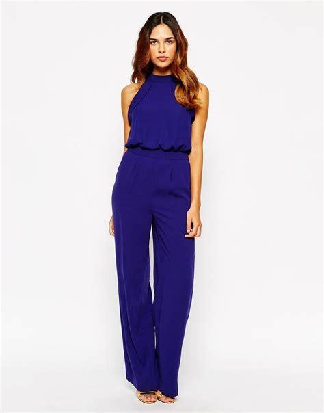 Feather Jumpsuit Da warehouse high neck jumpsuit indigo models and cobalt blue