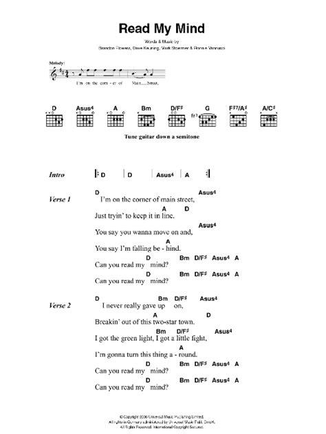Read My Mind by The Killers - Guitar Chords/Lyrics