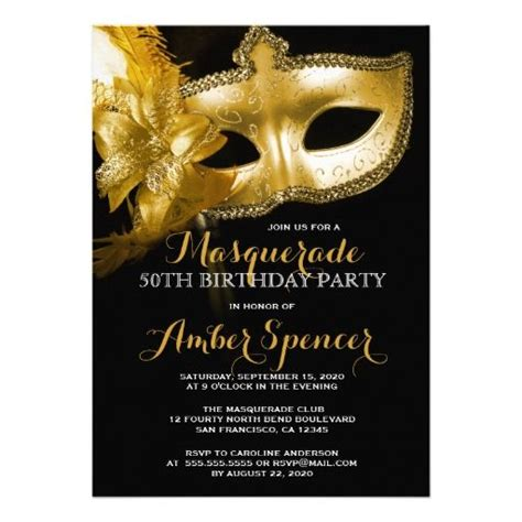 gold mask masquerade 50th birthday party card party