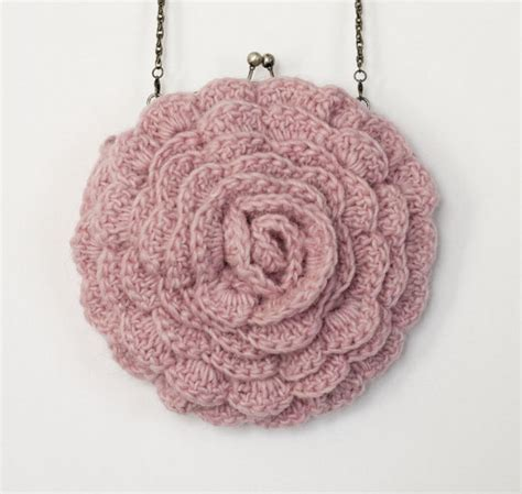Crochet Rose Bag Pattern | crochet pattern instant download ruffled chic bag pink