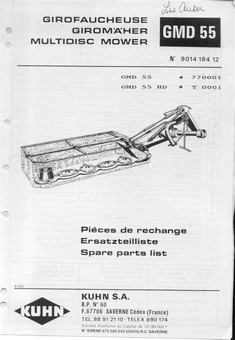 kuhn mower parts diagram equipment manualskuhn gmd 600 700 disc mower parts catalog