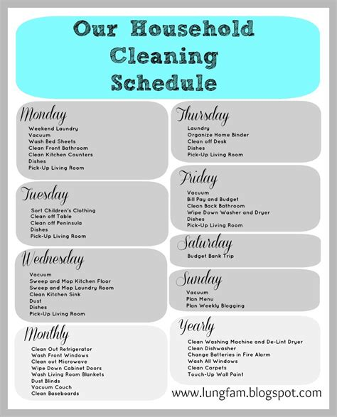 house cleaning schedule template printable house cleaning schedule template