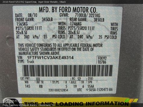 2010 f150 fx2 supercrew ingot silver metallic color code ux photo no 41269957 gtcarlot