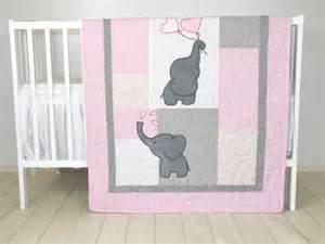 Pink Gray Elephant Crib Bedding Baby Quilt Elephant Blanket Pink Gray Crib Bedding
