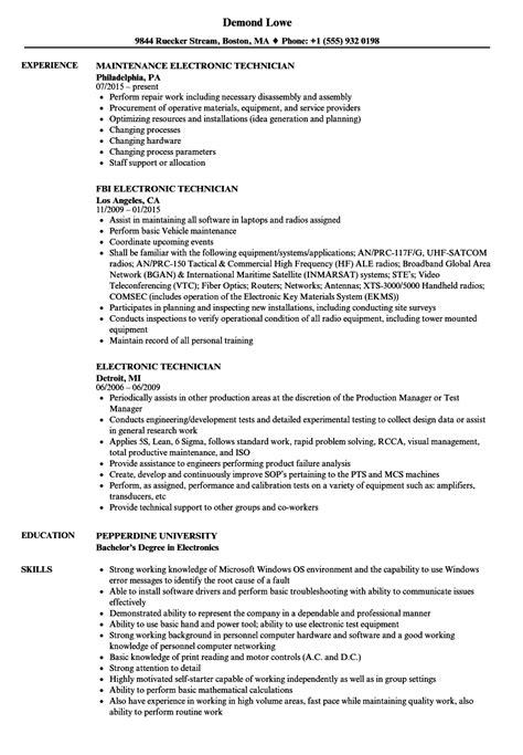 electronic resume format electronic technician resume sles velvet