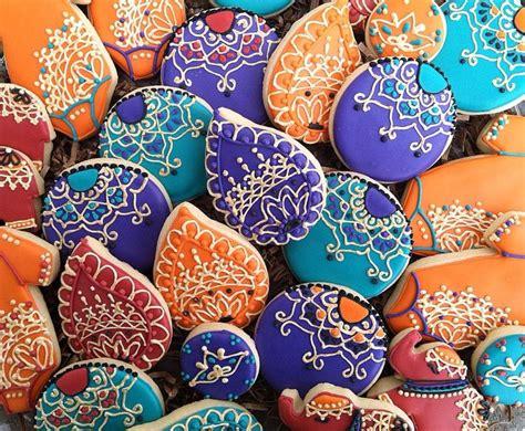 henna design biscuits henna cookies becky bakes boise filigree orange