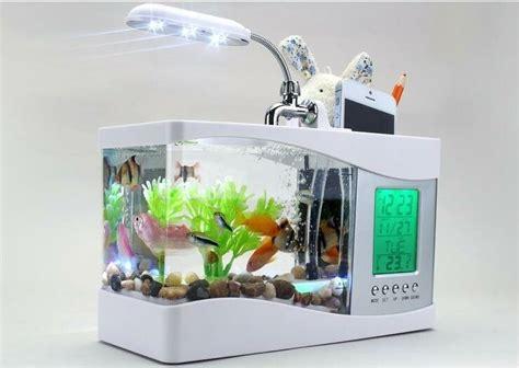 Aquarium Gel Ternak Semut Illuminated aliexpress buy 2016 popular mini fish tank aquarium usb desktop lcd timer clock led l