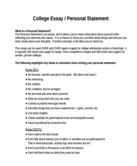 Personal College Essay by 29 Exles Of College Essays