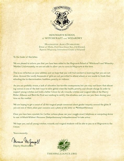 Hogwarts Acceptance Letter Hermione This Viral Caign Is Asking What Hogwarts Would Be Like Without Hermione Fort Mcmurray S
