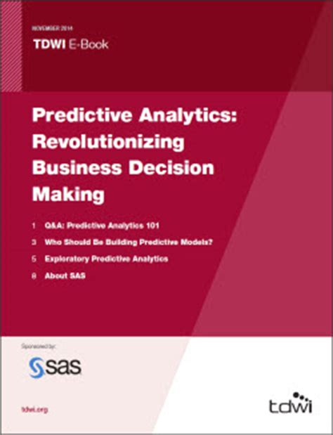 business analytics data analysis decision standalone book tdwi e book predictive analytics revolutionizing