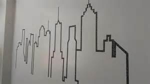washi designs washi tape skyline mural supergluechic