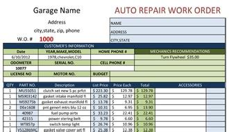 Blank Work Order Auto Repair Shop Work Order Template