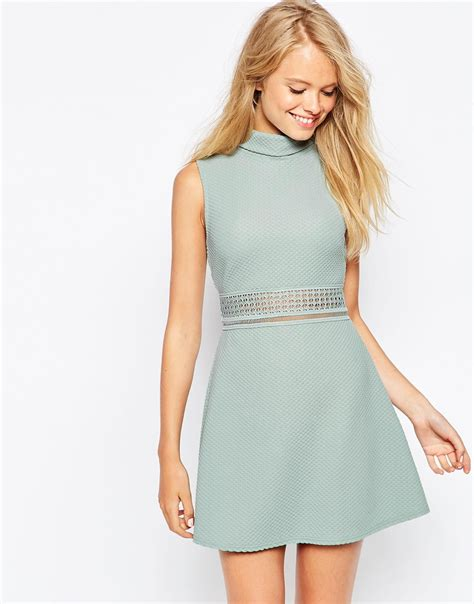 Hi Neck Lace Dress 8994 lyst asos a line dress in texture with high neck and lace inserts in blue