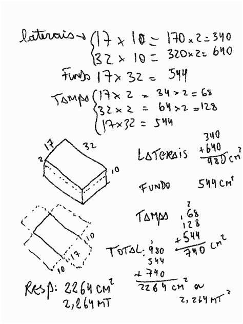 Quantos centímetros quadrados de papelão são gastos pra