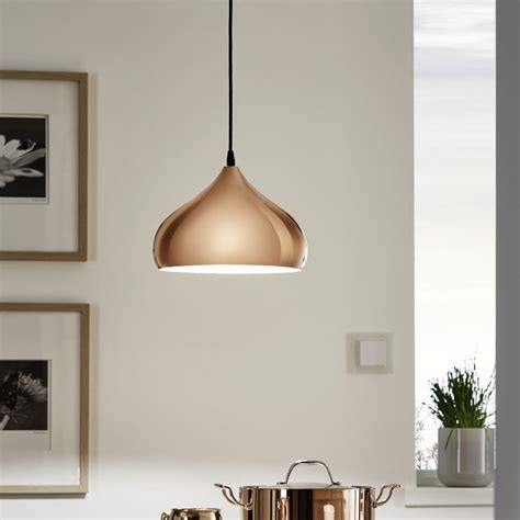 copper pendant light uk eglo 49449 hapton polished copper pendant light