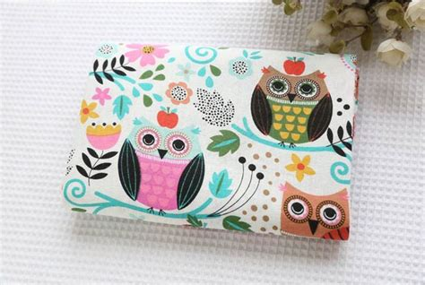 quilt pattern kerajinan kain perca cute owl pattern cotton linen fabric vintage quilting