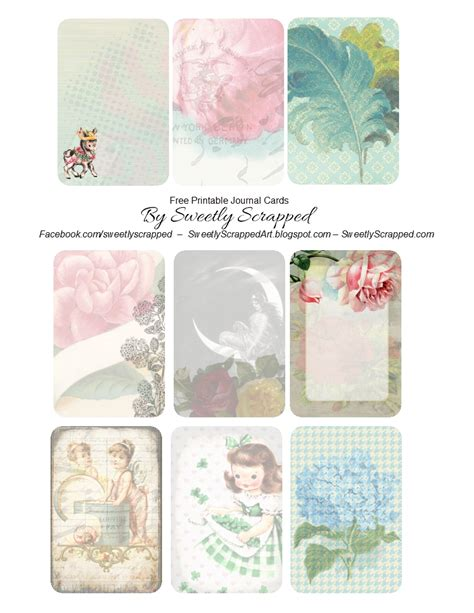 sweetly scrapped free printable journal cards