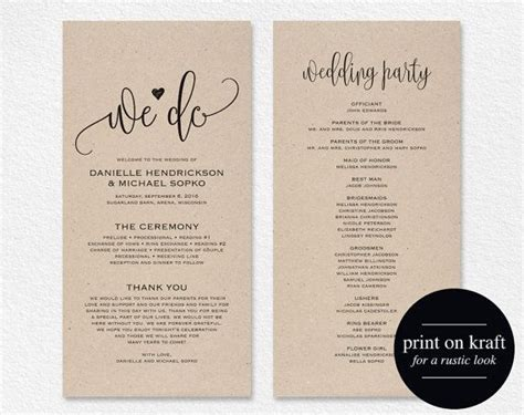 printable wedding program templates best 25 wedding program templates ideas on
