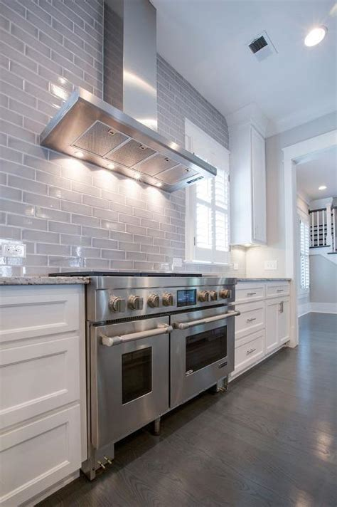 Gray Backsplash Kitchen and gray kitchen features white cabinets paired with white and grey