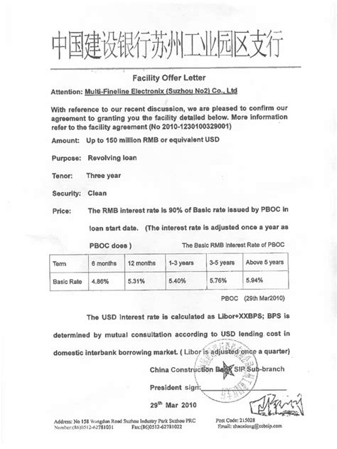 Loan Facility Letter Of Offer multi fineline electronix inc form 8 k ex 10 63