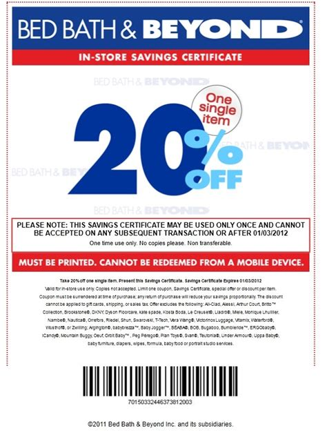bed bath and beyond coupn bed bath and beyond coupon 20 percent discount bed bath