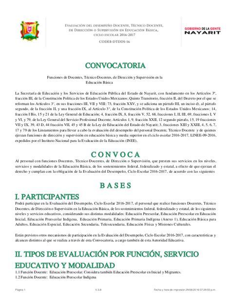 convocatoria docente 2016 evaluacion desempe 241 o docente convocatoria nayarit 2016