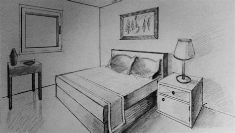bedroom drawing how to draw two point perspective bedroom