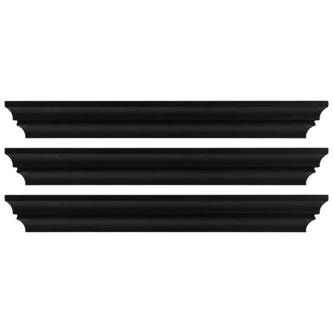 madison decorative wall ledge shelf set of 3 espresso kiera grace madison 24 in x 4 in black contoured wall