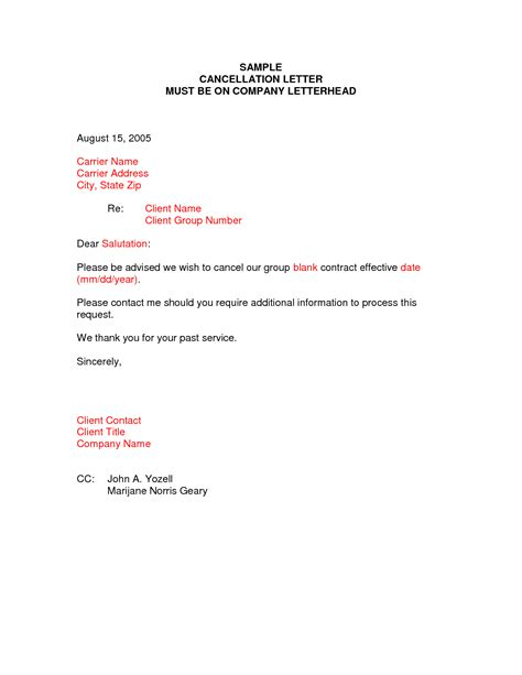 Cancellation Letter By Email Cancellation Letter Sles Writing Professional Letters
