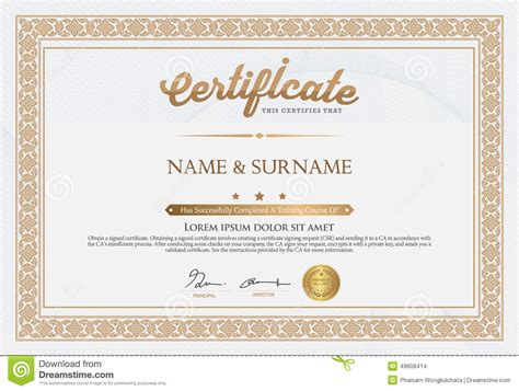 certificate of completion template stock vector image