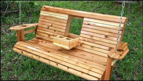 wooden porch bench build a wood porch swing with cup holders diy projects