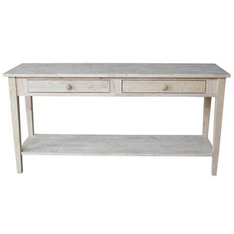 Spencer Unfinished Solid Parawood Sofa Server Table Ebay Table For Sofa