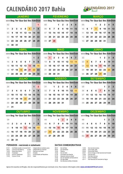 Calendario 2017 Feriados Bahia Calend 193 2017 Para Imprimir Feriados