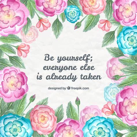 imagenes frases positivas con flores flores rosas y azules pintadas a mano con frase positiva