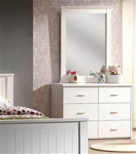 White 6 Drawer Dresser With Mirror by Acme Furniture Bungalow White 6 Drawer Dresser And