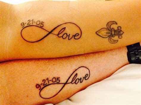 infinity with date anniversary date tattoos couples infinity with