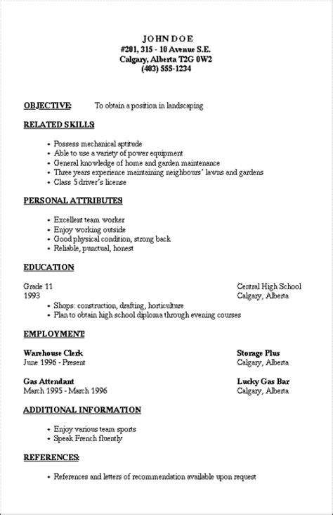 Template Of A Resume For A resume outline resume cv exle template
