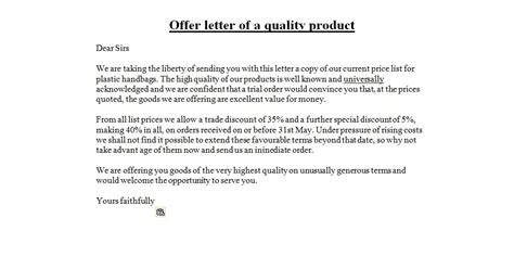 Offer Letter For Purchase Of Product business letter sles offer letter of a quality product