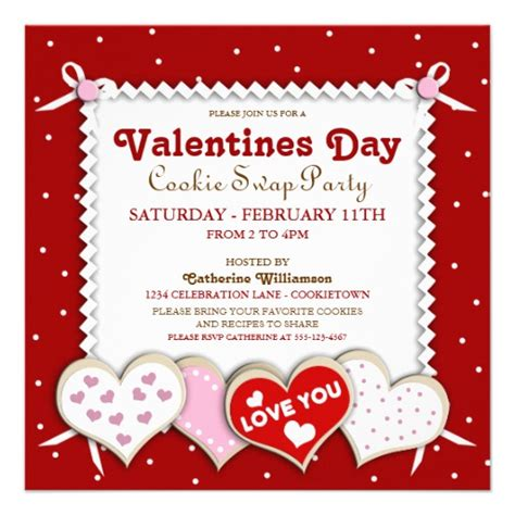 valentines invitation valentines day cookie invitation 5 25 quot square