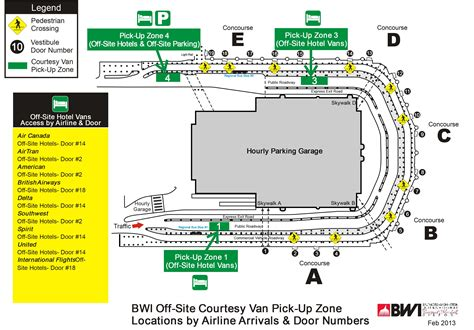 bwi terminal map up information econopark express