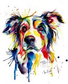 colorful border collie art print print of original